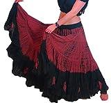 25 Yard Yards Tribal Zigeuner Baumwolle Bauch Tanzen Tanz Rock ATS L36inch - TIE DYE DESIGN (SCHWARZES MAROON)