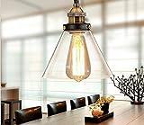 Unimall Hängelampe Glas Pendelleuchte Industrie Landhausstil Vintage Retro Krystal mit Glas Schirm Ideal für Essbereich Küche Bar Keller