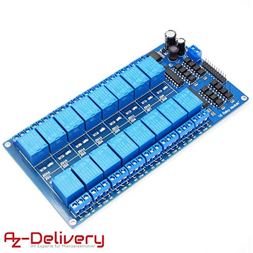 AZDelivery ⭐⭐⭐⭐⭐ 16-Relais Modul 12V mit Optokoppler Low-Level-Trigger für Arduino -
