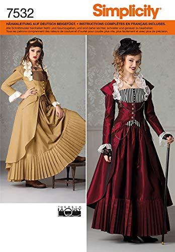 Zeiten Viktorianischen Kostüm - Simplicity Schnittmuster 7532 HH Historisches Kostüm Gr. 32-38