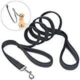 PETBABA Double Handle Dog Lead, 2m Long Reflective Safe at Night Soft Padded Heavy Duty Dog leash with Short Grip to Control Your Pet in Traffic in Black