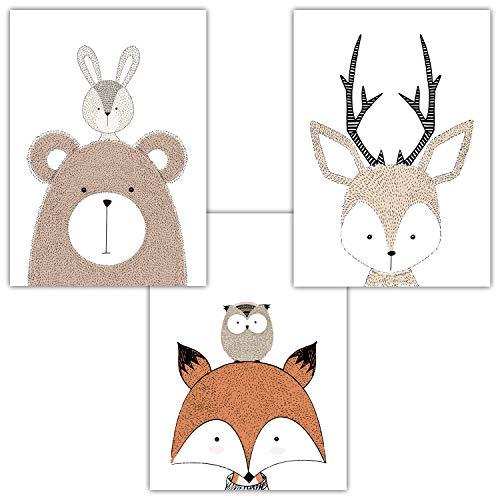 Frechdax® 3er Set Poster DIN A3 ohne Bilderrahmen | Mädchen Junge | Kinderposter Bilder für Kinderzimmer Babyzimmer | Tiermotive Tiere (3er Set Waldtiere, Bär, Fuchs, Hase)