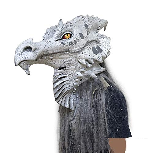 LJSHU Halloween Lebensechte Monster Maske Echthaar Cos Tier Alien Horror Kostüm Ornament Hood