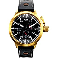 Chotovelli Big Pilot Men's Watch Black Dial Analogue Multi eye Display Black leather Strap 7900.8