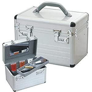 Vanity case VALISE BEAUTÉ mallette pour Maquillage et Cosmétique en aluminium argent 49007