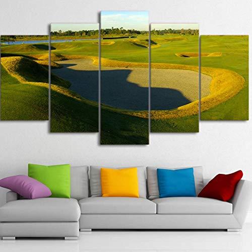 Igzaker Parcours De Golf D'Art En Toile De 5 Pièces Imprimé Hd, Peinture Mur De Colline Verte,...
