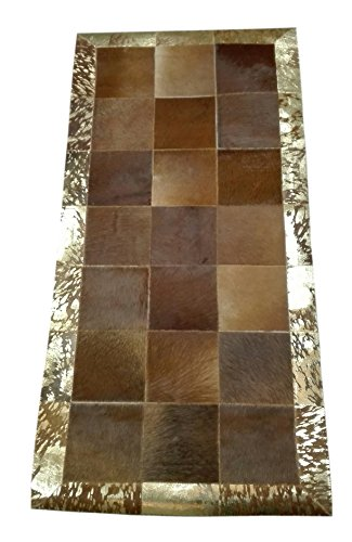 Zerimar Alfombra piel de vaca Estilo Patchwork Ideal para la decoración Medidas: 140 x 70 cms