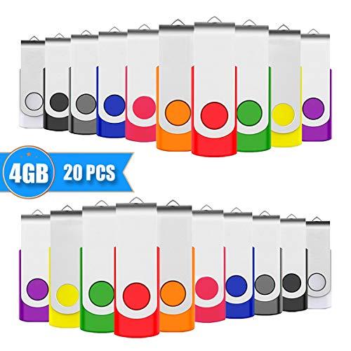 EASTBULL 4GB USB Stick Swivel Flash Memory Drive Flash Drive USB Mmemory Sticks, 20 stück Mehrfarbig