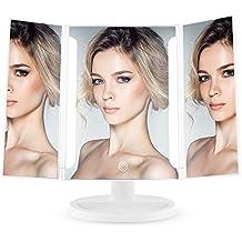 Easehold Espejo para Maquillaje, Espejo 3 Paneles con 16 Unidades Luz LED 180° Ajustable