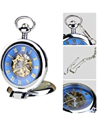 De la vendimia Orkina de Color plata de la mano de la-vida del Color azul se muestra en el hueco de la época romana Numerial estilo reloj de bolsillo