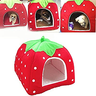 Gowind6 Strawberry Soft Cashmere Pet Dog Cat House, Foldable Portable Dog Room/Cat Bed, Dog Cat Puppy Rabbit Pet Nest Cave Bed Room ?Red M? from Gowind6
