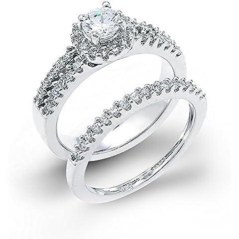 Pequeños Tesoros - Anillos Damas 14 Kt Oro Blanco 585/1000 3 Row Diamante Halo Ensemble 2 Monedas
