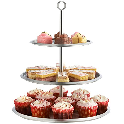 VonShef 3 Tier Cake Stand, Stainless Steel - To Display Cupcakes, Cakes, Muffins - Party, Wedding