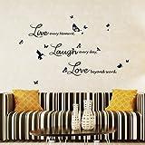 Walplus Wand Aufkleber Lucida Live Laugh Love Abnehmbaren Selbstklebend Wandbild Kunst Abziehbilder Vinyl Home Dekoration DIY Living Schlafzimmer Décor Tapete Kinder Zimmer Geschenk, Schwarz