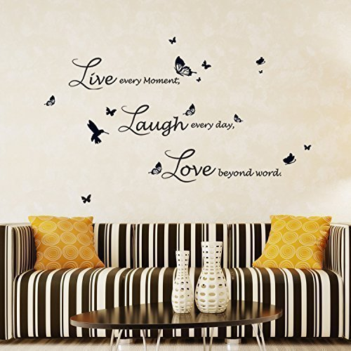 "Price comparison product image Walplus Wall Stickers Lucida ""Live Laugh Love"" Removable Self-Adhesive Mural Art Decals Vinyl Home Decoration DIY Living Bedroom Office Décor Wallpaper Kids Room Gift,  Black"