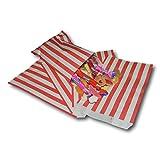 EPOSGEAR 100 Rot Süßigkeiten Streifen Papiertüten Süßes Geschenk Taschen Tüten 5 x 7 (125mm x 175mm) - Ideal für