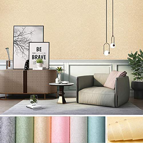 KINLO Selbstklebend Tapete wasserfest Wandtapete mit Seidenfaden Muster 61 x 500cm Wandaufkleber Klebefolie für Wohnzimmer TV Hintergrund Wand (Hellgelb)