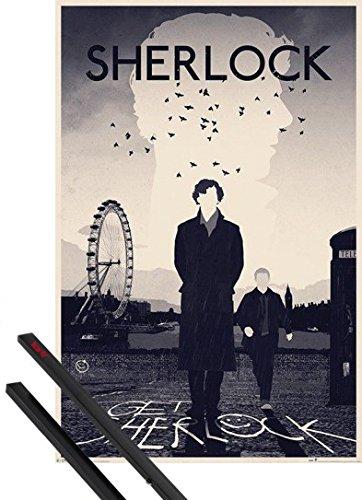 Poster + Sospensione : Sherlock Poster Stampa (91x61 cm) Get Sherlock, London E Coppia Di Barre Porta Poster Nere 1art1®