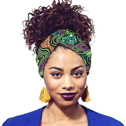 Hzjundasi Damen Druck Stirnbänder Turban Hochwertige Baumwolle Kopftuch Krawatten für Frauen Mädchen Haarschmuck (Wickeln Für Haare Zöpfe)