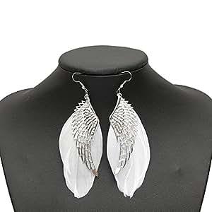 Boucles D'oreilles Plume Aile Argenté Blanc Crochet Wing Bijoux Earrings Soirée