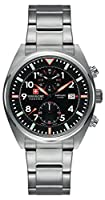 Swiss Military SM34222AEU/H01MS - Reloj de cuarzo para hombres con esfera negra y correa plateada de acero inoxidable de Swiss Military