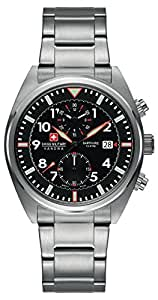 Swiss Military Men's SM34222AEU/H01MS Quartz Watch with Black Dial Analogue Display and Stainless Steel Bracelet