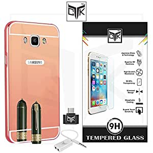 TheGiftKart™ Combo for Samsung Galaxy On8 (Combo of 1 Back Cover + 1 Tempered Glass + 1 OTG Adapter + 1 Audio Splitter) - TheGiftKart™ ULTRA Premium Luxury Metal Bumper Acrylic Mirror Back Cover (Rose Gold) + Premium HD Tempered Glass Screen Protector With Rounded Edges + OTG Adapter + Audio Splitter