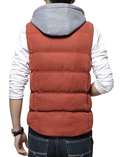 DD UP Herren Herbst Winter Hooded Cotton Reißverschluss Ohne Arm Coat Down Vest Jacken Mäntel Westen vest Orange