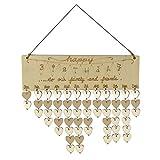 Gazechimp Vintage Wandkalender Familienkalender Geburtstagskalender Holz Kalender Hängen Dekor - 4 Muster - Happy Birthday