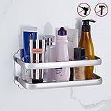 Duschkorb ohne Bohren, Duschablage für Shampoo und Duschgel rostfrei Aluminium leicht zu montieren Silber