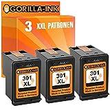 Gorilla-Ink 3 Patronen kompatibel mit HP 301 XL Black   geeignet für HP Deskjet 1050A 1050S 2050A 2050S 3050A 3050S 3052A 3054A 3055A 3056A 3057A 3058A 3059A