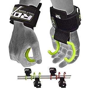 RDX Zughilfen Haken Bodybuilding Handgelenkbandage Krafttraining Zughilfe Fitness Gewichtheben Klimmzughak (MEHRWEG)