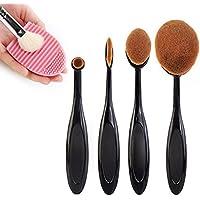 Sunroyal® 4 PCS professionale Pro HQ Pennelli trucco insieme di spazzola cosmetico, Set di spazzolini da denti, pennelli da trucco, adatto per sopracciglio, Foundation-Pennello per Eyeliner - Arte Seta Tende