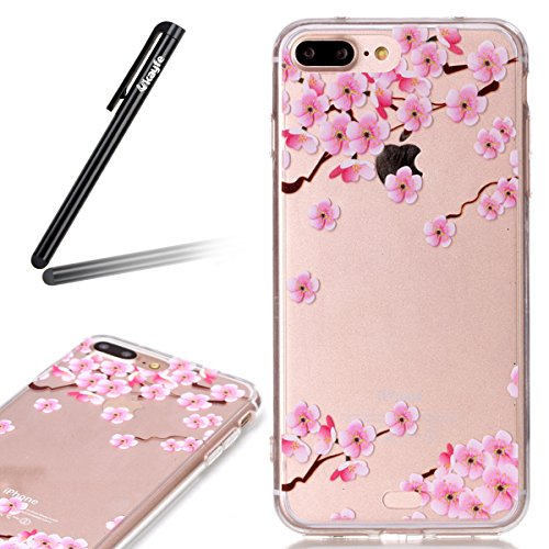 Ukayfe Custodia per iPhone 7/8 plus,UltraSlim TPU Gel Gomma Silicone Copertura Case per iPhone 7/8 plus,Crystal Clear Skin Custodia Stilosa custodia di design Protettiva Shell Case Cover antigraffio C Fiore Plum