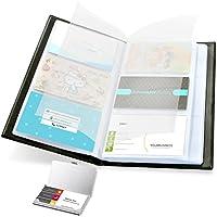 Libro de tarjetas de visita, Ohuhu Tarjetas de visita 2-IN-1 Conjunto de libro organizador de tarjeta de visita y Tarjetero de acero inoxidable