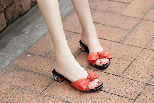 Sandália Tamanho Calcanhar Dedo Senhoras Feminina Meados Verão Pequeno Bailing De Sapatos Aberto Chinelos Doce De Vermelhas Bowknot w4xnwP6q