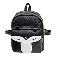 SODIAL Cute Mini Leather Fox Fashion Backpack Small Daypacks Purse for Girls(Black)