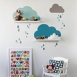 Limmaland Wandtattoo Wolken passend für Deine IKEA RIBBA / MOSSLANDA Bilderleisten (Farbe Mint) - Babyzimmer Kinderregale