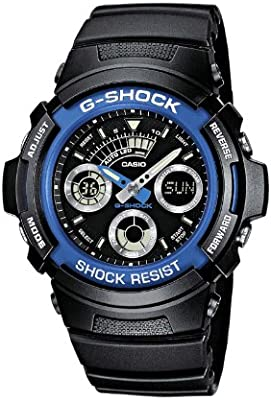 CASIO G-SHOCK AW-591-2AER - Reloj de cuarzo con correa de resina para mujer (con cronómetro, alarma, luz), color negro