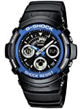 Casio G-Shock AW-591-2AER Analog and Digital Quartz Multifunction Sports Watch with Stopwatch, Timer, Alarm, Blue Bezel, Time Zones and Black Rubber Strap