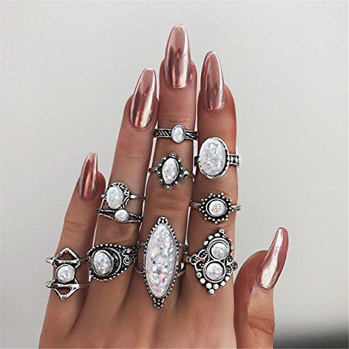 Yesiidor 10stück Midi Ringe Set Silber Für Damen Vintage Fingerring Nagel Finger (Ring Nagel)