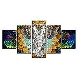 WHFDH Dekoration Auf Leinwand Gemalt 5 Bunte Abstrakte Elefanten Bilder Wohnzimmer Hd Print Poster Wandkunst