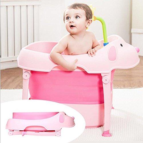 AIBAB Faltbar Baby Niedlich Rosa Badewanne Bad Badeeimer Große Größe Kind Kann Sitzen Verdicken Surround Schloss Temperatur Platzsparend