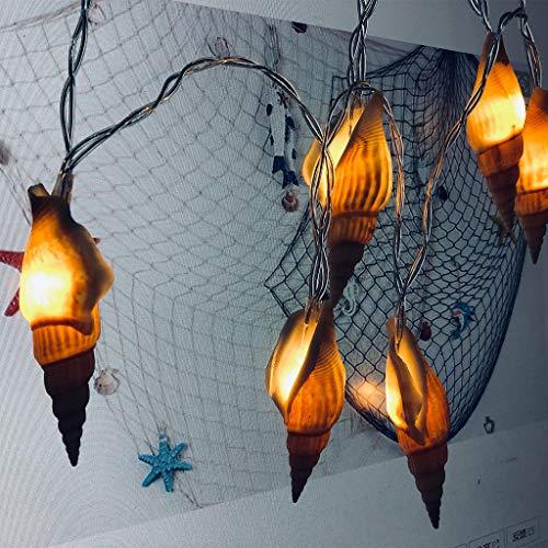 ☀JiaMeng LED Lichterkette Batteriebetriebene, 10 warmweiße Ocean Conch, für Innen und Außen Dekoration wie Zimmer, Weihnachten, Geburtstag, Garten, Party, Kinderzimmer
