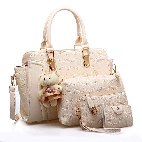 LACIRA Women\'s Combo of Shoulder Bag, Hard Leather Satchel, Card Holder and Handbag(Ivory, BA052WHT)