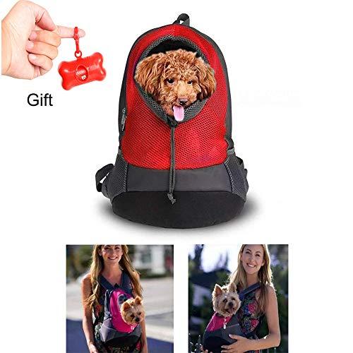 Teammao Haustier Hunderucksack Schultasche Outdoor Tragbar Laufen Reisen Weich Atmungsaktiv Größe Verstellbar Hund Katze Rucksack Tasche Geeignet für kleine Haustiere. (S, Rot)