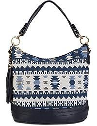 styleBREAKER Tote Bag mit Azteken Muster und Quasten Anhänger, Schultertasche, Umhängetasche, Handtasche, Tasche, Damen 02012102