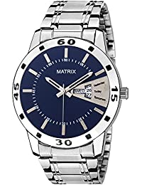 Matrix Silvermine Analog Blue Dial Wrist Watch Day And Date Display For Men & Boys- DD7-BL-ST