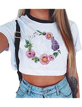 Baijiaye Donna Motivo Stampato T-Shirt Primavera Estiva Manica Corte Felpa O-Collo Breve Crop Tops Tempo Libero...