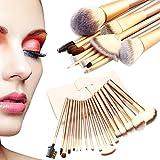 18pcs Makeup Brush Set, Professional Kabuki Cosmetics Foundation Makeup Brushes with Leather Traverl Pouch Bag Case (18pcs)